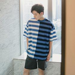 109340 하프배색 스트라이프 오버핏 반팔 티셔츠