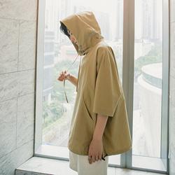 109343 윈드브레이크 써머 오버핏 반팔 후드 티셔츠