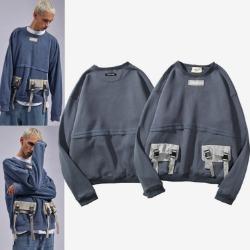 110084 더블 포켓 포인트 라운드넥 맨투맨 티셔츠