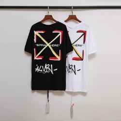 109956 스프레이 배색 에로우 라운드넥 반팔 티셔츠