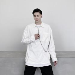 109975 카라 지퍼 체인 포인트 오버핏 긴팔 티셔츠