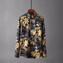 109799 고져스 플라워 프린팅 슬림 캐주얼 긴팔 셔츠