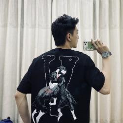 109941 파이팅 독 프린팅 라운드넥 반팔 티셔츠
