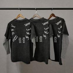 110041 스톤워싱 블랙 마블 레이어드 긴팔 티셔츠