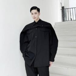 110107 유니크 오버숄더 레이어드 포인트 긴팔 셔츠