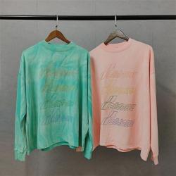 110058 레인보우 레터링 물나염 긴팔 라운드넥 티셔츠