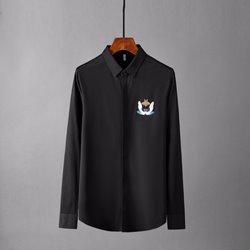 109865 트렌드 구름 자수 실크 캐주얼 슬림 긴팔셔츠