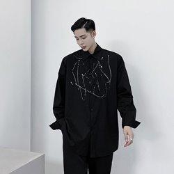 109821 로얄 스플래시 잉크 디자인 긴팔셔츠