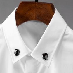 110222 스컬 비죠 카라 포인트 히든버튼 긴팔 셔츠