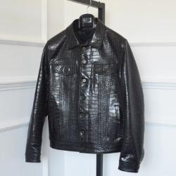 110380 크로커다일 무늬 양가죽 트러커 가죽자켓(Black)