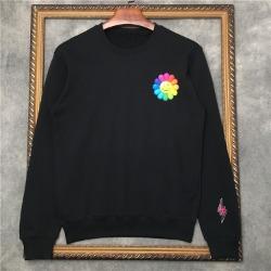 110265 썬 플라워 레인보우 레터링 라운드넥 맨투맨 티셔츠