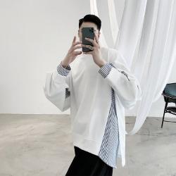 110218 스트라이프 컷팅 레이어드 배색 긴팔 티셔츠