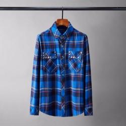 110228 플란넨 체크 스터드 포켓 긴팔 셔츠