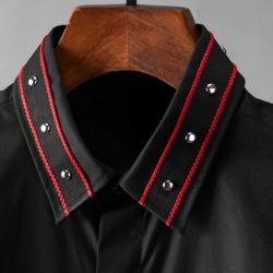110224 스터드 카라 띠배색 히든버튼 긴팔 셔츠