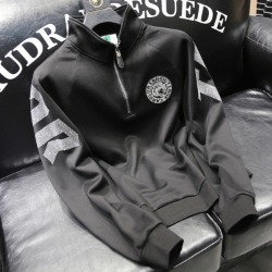 110346 비즈 타이거 패치 하프 집업 긴팔 티셔츠 (Black)