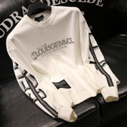 110334 팔배색 라인 레터링 라운드넥 맨투맨 티셔츠