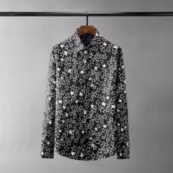 110425 멀티 스타 프린팅 히든버튼 긴팔 셔츠(Black)