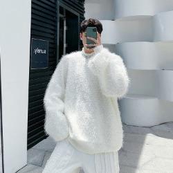 110463 유니크 퍼 반폴라 니트 스웨터(2Color)