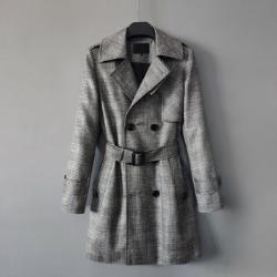 110400 쉐도우 글랜체크 트렌치 코트(Dark Gray)