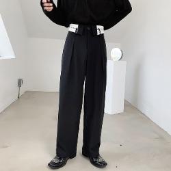 110407 유니크 허리 스트링 레이어드 와이드 팬츠(Black)