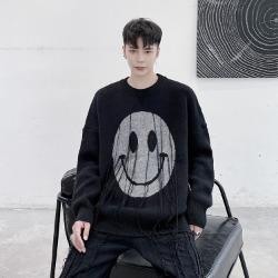 110478 호러 스마일 라운드넥 울 니트 스웨터(Black)