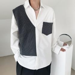110406 언발란스 조끼 레이어드 긴팔 셔츠(2Color)