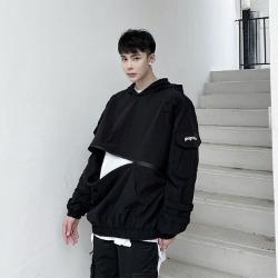 110479 체스트 지퍼 절개 후리스 후드 티셔츠(Black)
