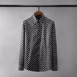 110426 트라이앵글 웨이브 프린팅 긴팔 셔츠(Black)