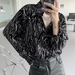 110405 웨이브 스팽글 루즈핏 긴팔 셔츠(Black)