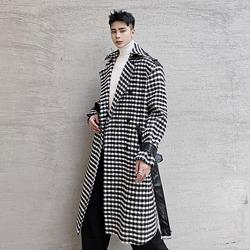 110780 소매 견장 배색 스퀘어 패턴 울 코트(Black)