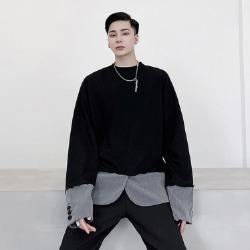 110504 레이어드 소매 밑단 배색 긴팔 티셔츠(2Color)