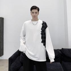 110512 어깨 체크 배색 맨투맨 긴팔 티셔츠(2Color)