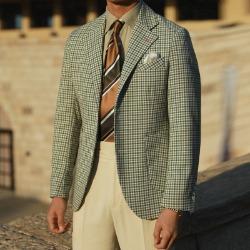 110797 아크 체크 패턴 싱글 울 블레이저(Green)