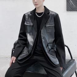 110445 솔리드 레더 배색 자켓(Black)