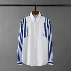 110575 지오 스트라이프 배색 히든버튼 긴팔 셔츠(2Color)