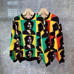 110724 레게 컬러플 배색 니트 스웨터(2Color)
