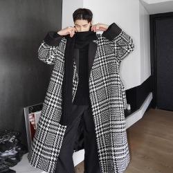 110600 카라 배색 하운드투스 글랜체크 로브 울 코트(Black)