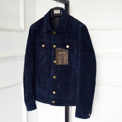 110651 SL 컷팅 카라 웨스턴 스웨이드 자켓(Blue)