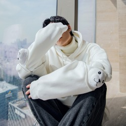 110698 토이 베어 앵클 포인트 후드 티셔츠(White)