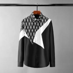 110569 자가드 스타배색 히든버튼 긴팔 셔츠(2Color)