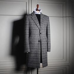 110490 루크 글랜체크 울 싱글 코트(Gray)