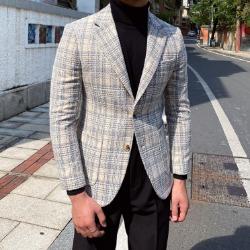 110756 루안 트위드 체크 울 싱글 자켓(Gray)