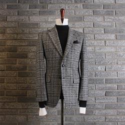110786 라울 글랜체크 울 싱글 자켓(Gray)