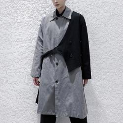 110456 유니크 배색 레이어드 트렌치코트(Gray)