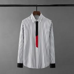 110567 잔 스트라이프 소매 앞섬 배색 긴팔 셔츠(2Color)
