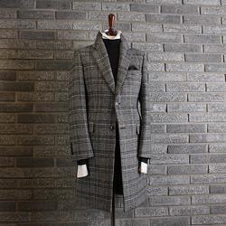 110785 라울 글랜체크 울 싱글 코트(Gray)