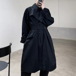110450 JJ 절개 레이어드 오버핏 트렌치 코트(Black)