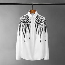 110990 숄 체스트 프린팅 히든버튼 긴팔 셔츠(2Color)