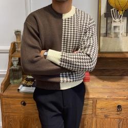 110874 하운드투스 배색 울 니트 스웨터(2Color)