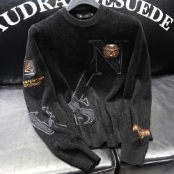110908 N 멀티 이글 패치 니트 스웨터(Black)